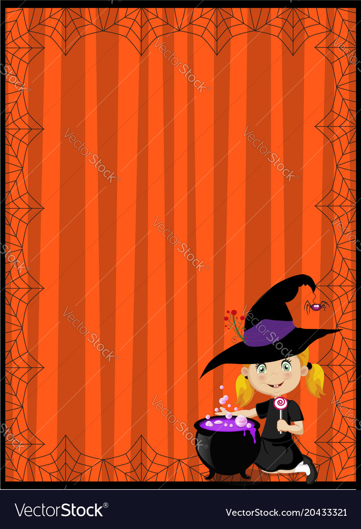 Halloween template little witch and cauldron