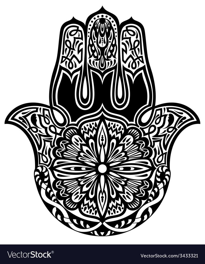 Hamsa Hand Doodle Symbol Royalty Free Vector Image