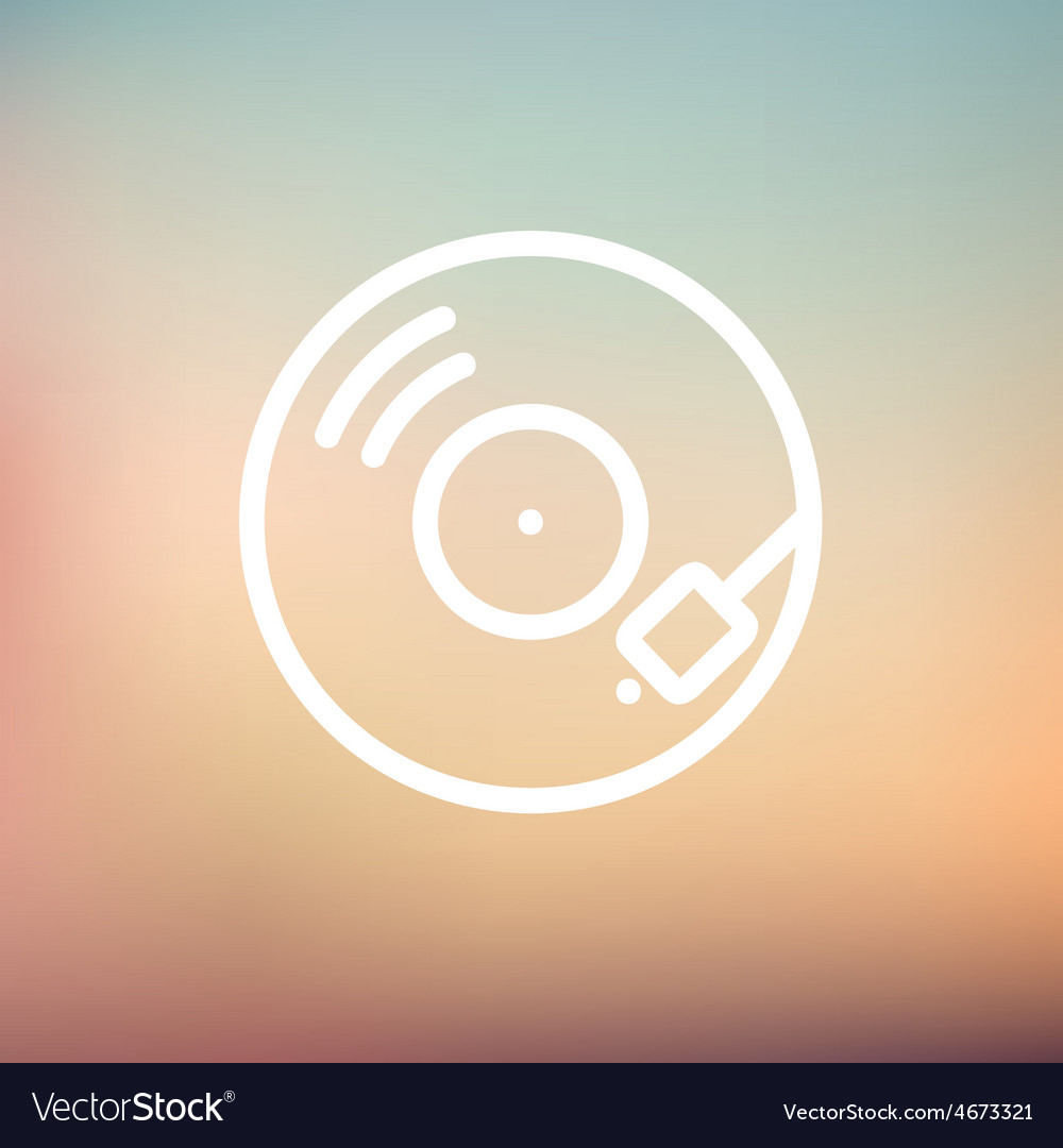 Phonograph turntable thin line icon vector image