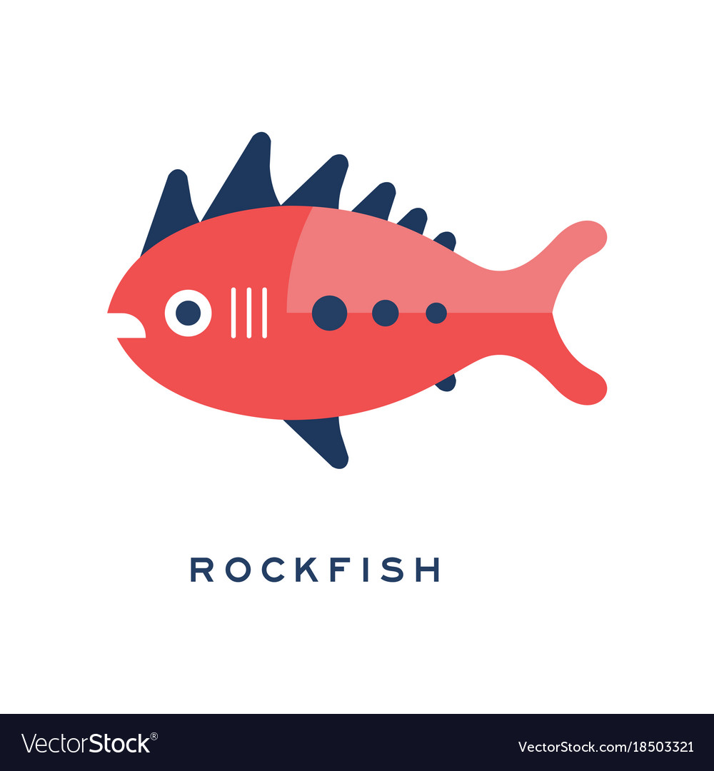 Rockfish sea fish geometric flat style design Vector Image
