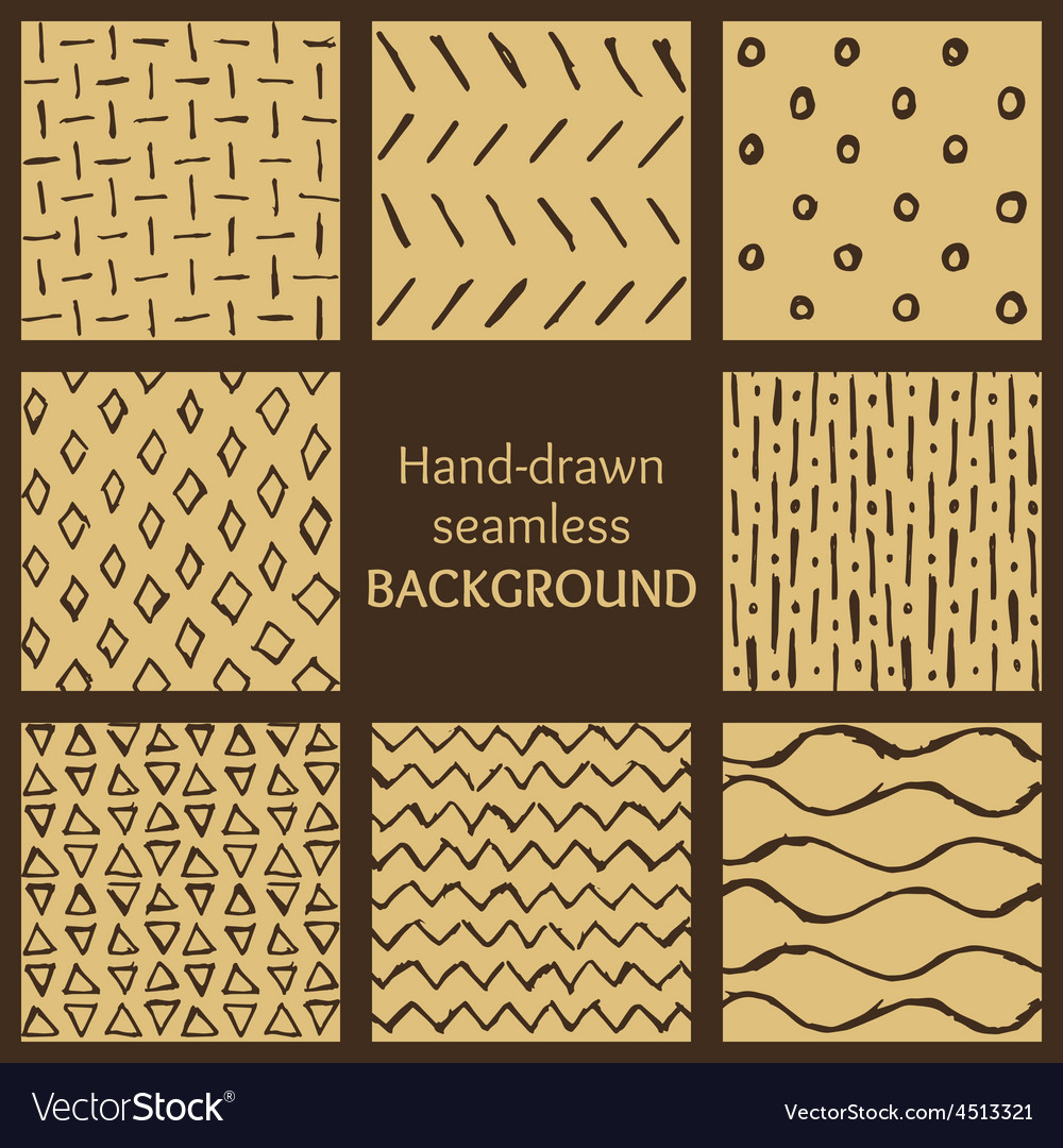 Set of hand-drawn hipster sketch seamless patterns