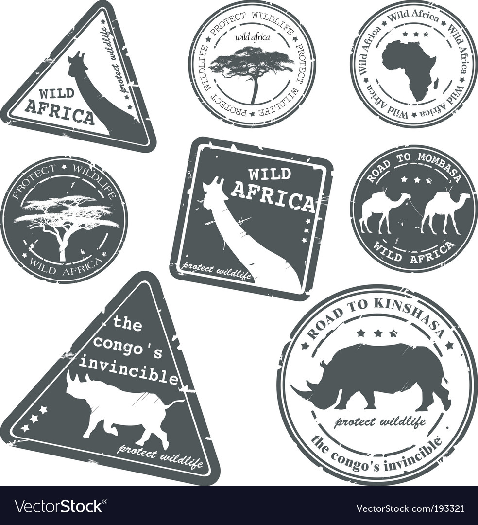 Stamp wild Africa set vector image