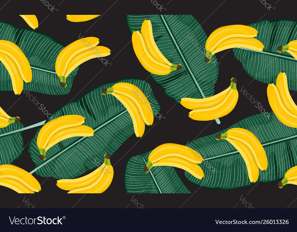 Banana seamless pattern with banana leaves bunch