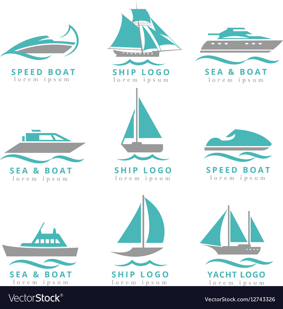 Boat logo and yacht label set Fast motor