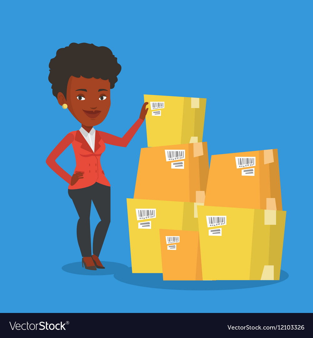 Business woman checking boxes in warehouse vector image