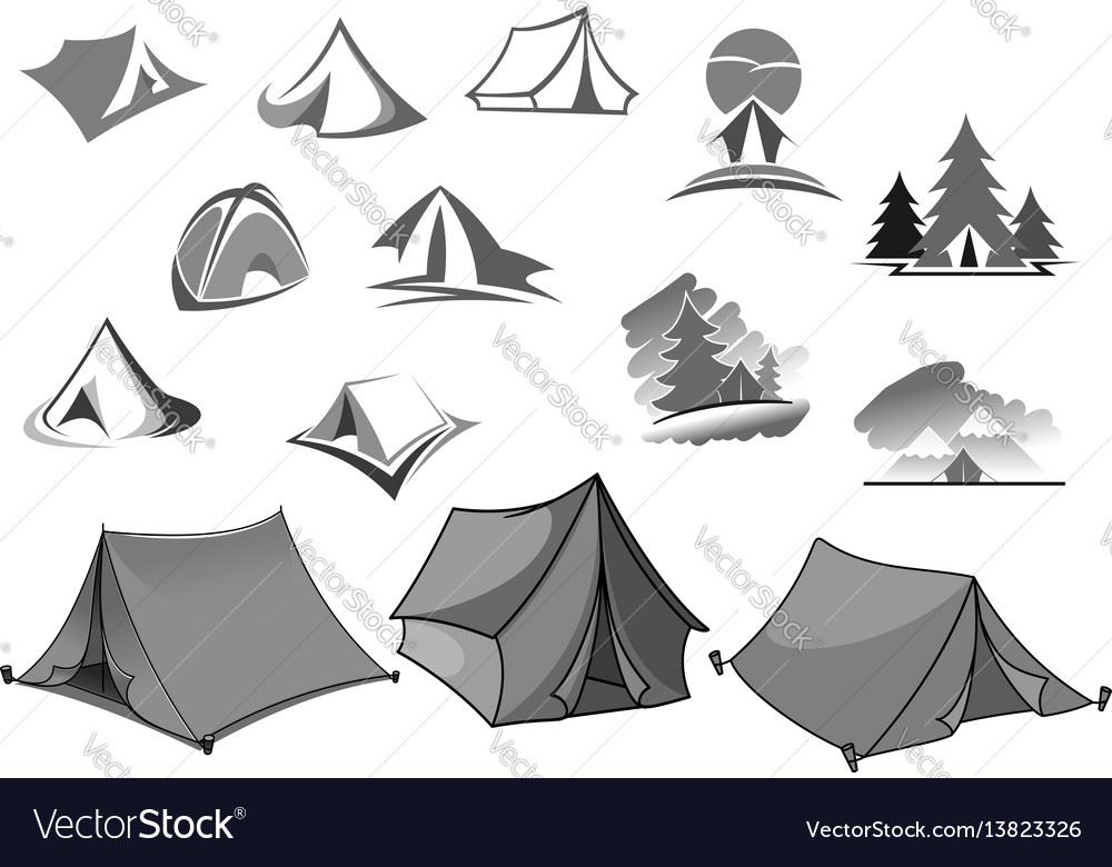 Camping icons of camp tent in forest