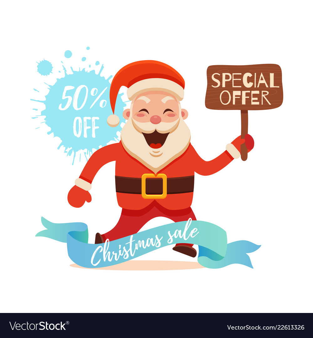 Cartoon santa claus for your christmas and new
