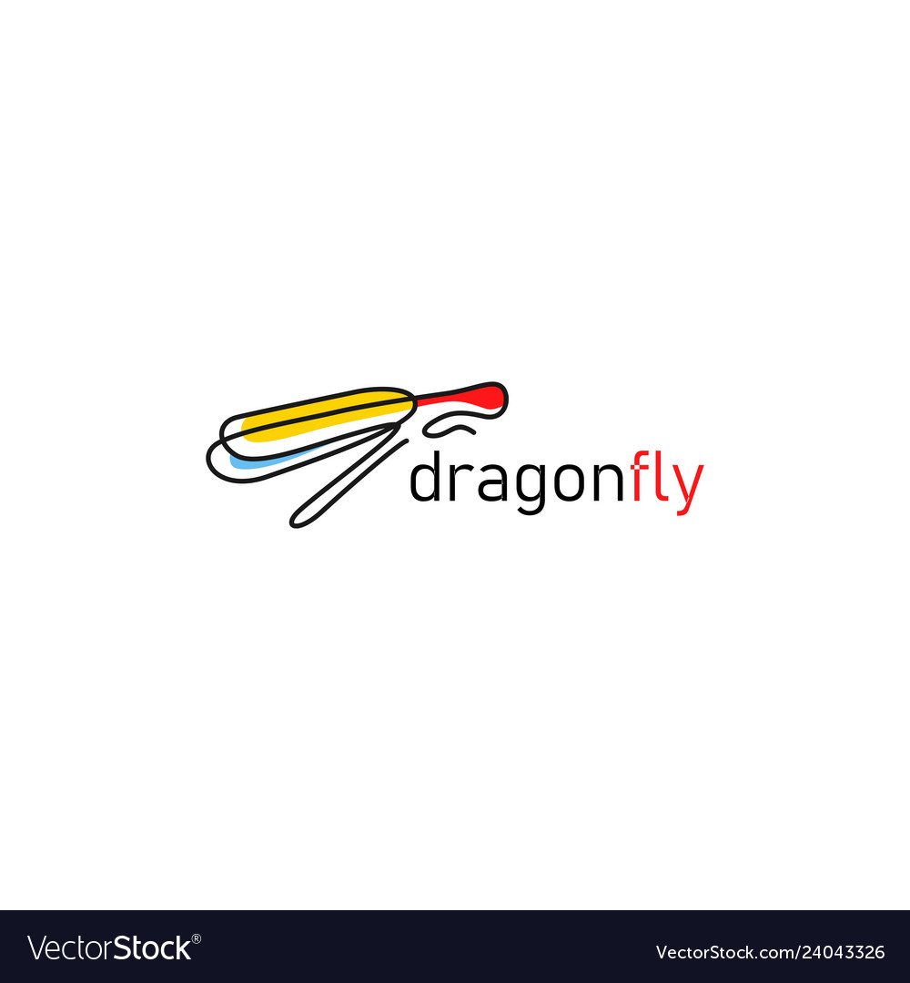 Continuous line dragonfly logo icon outline