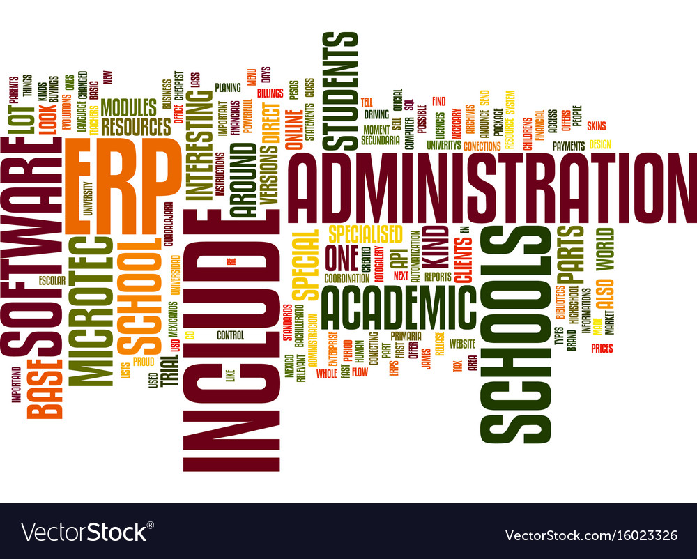 Erp academic base text background word cloud vector image