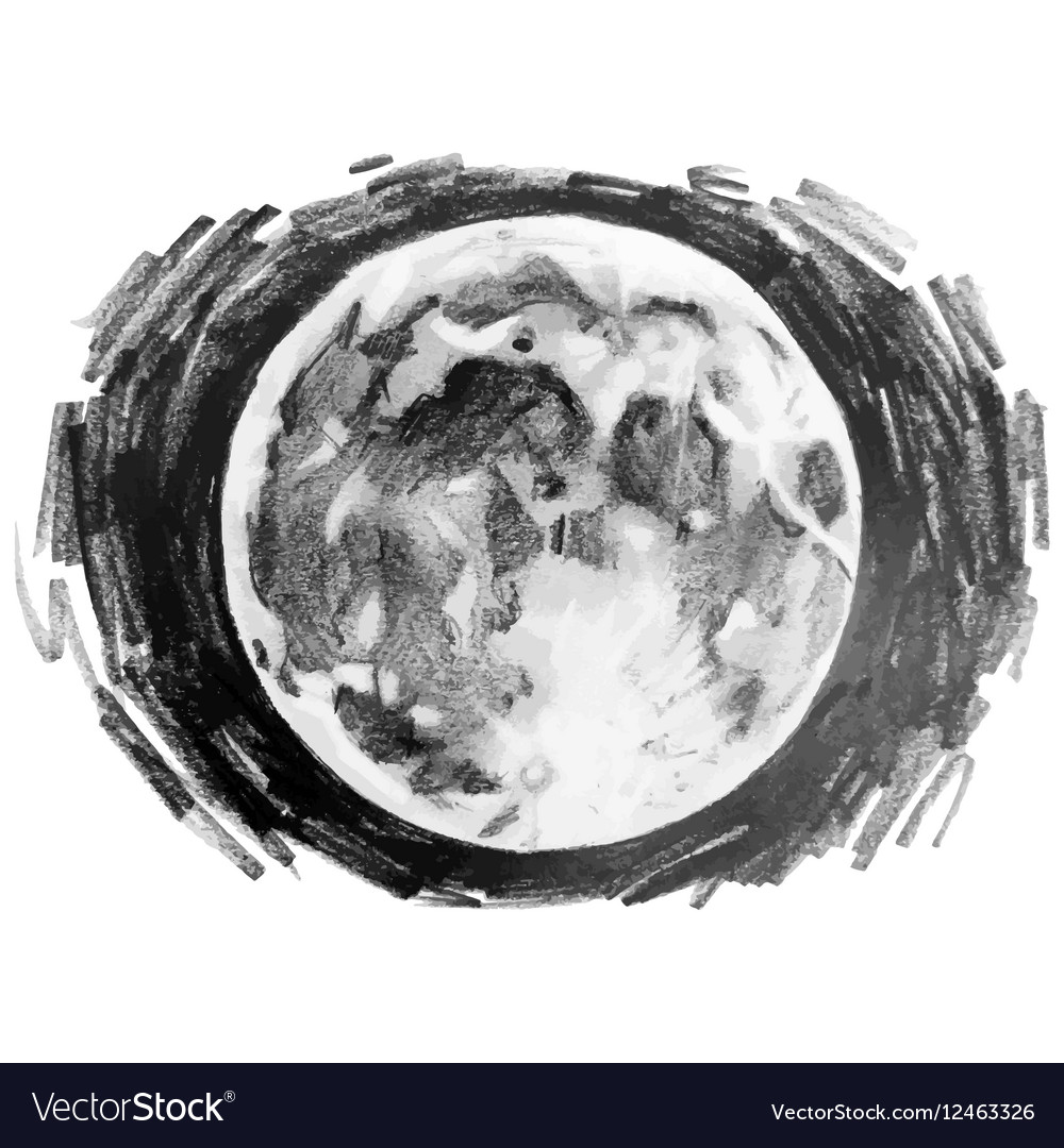 Graphic moon drawn by pencil