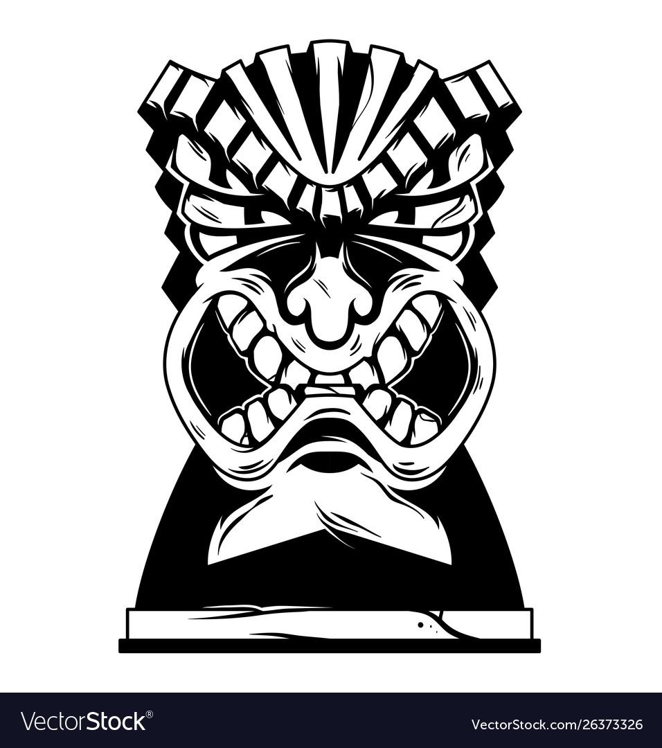 Hawaii tribal angry tiki mask