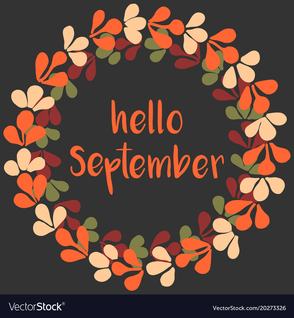 Hello september wreath orange card