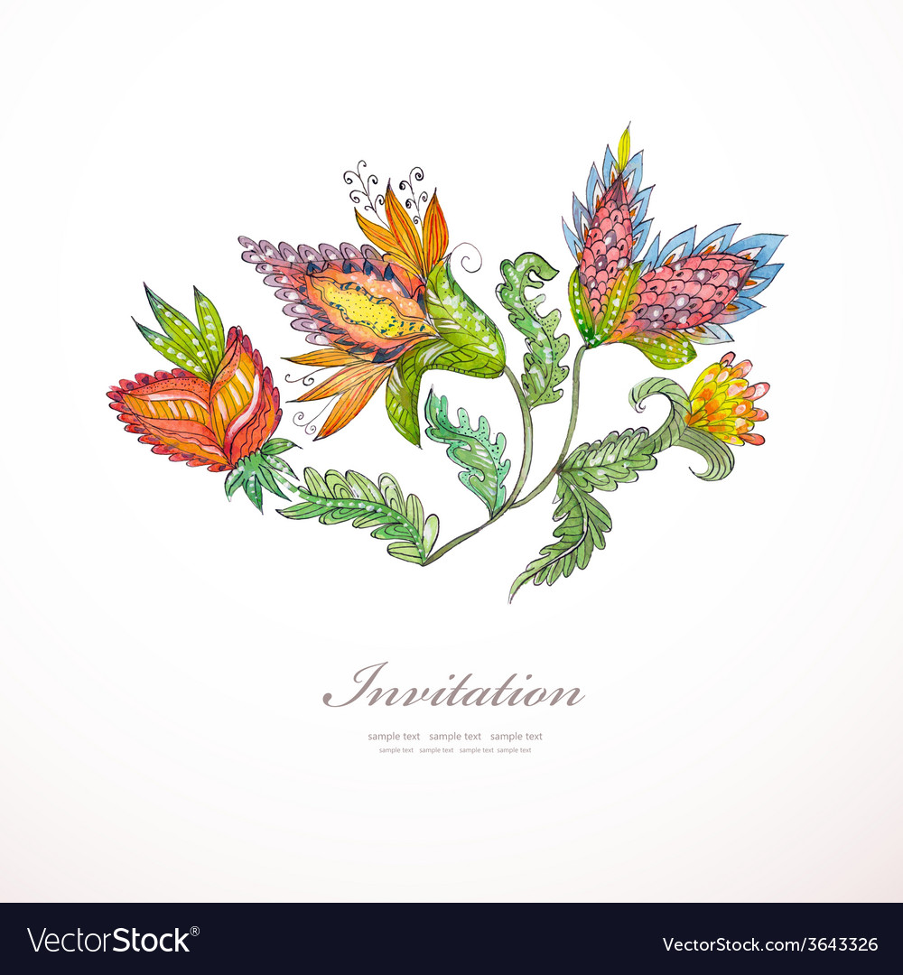 Invitation card with exotic abstract flowers for