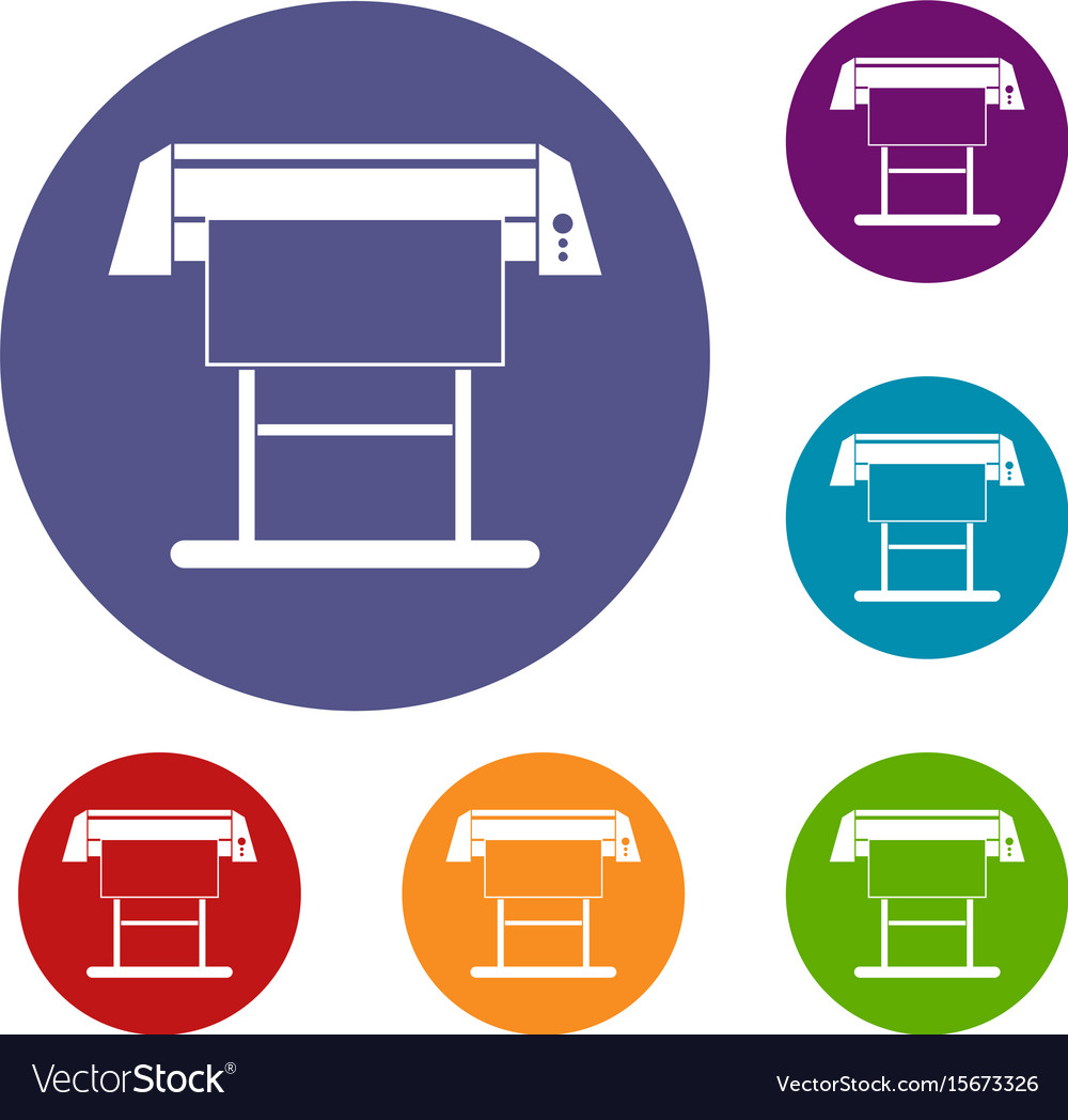 Large format inkjet printer icons set