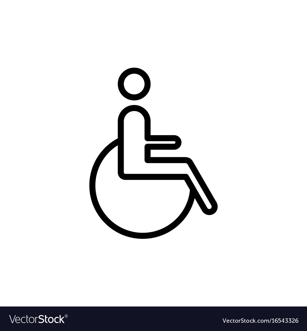 Line disabled handicap icon on white background