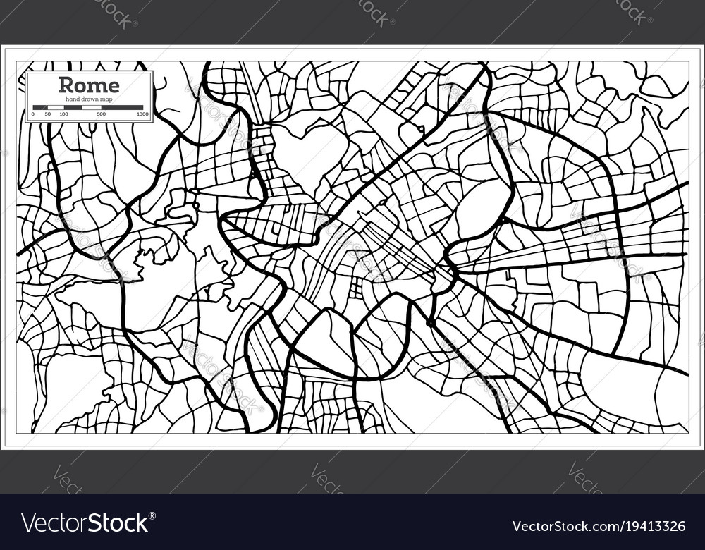 Black And White Map Of Italy.Rome Italy City Map In Black And White Color