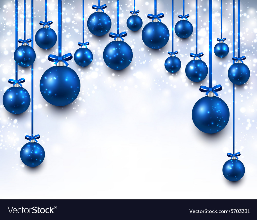 arc background with blue christmas balls vector image - Blue Christmas Balls