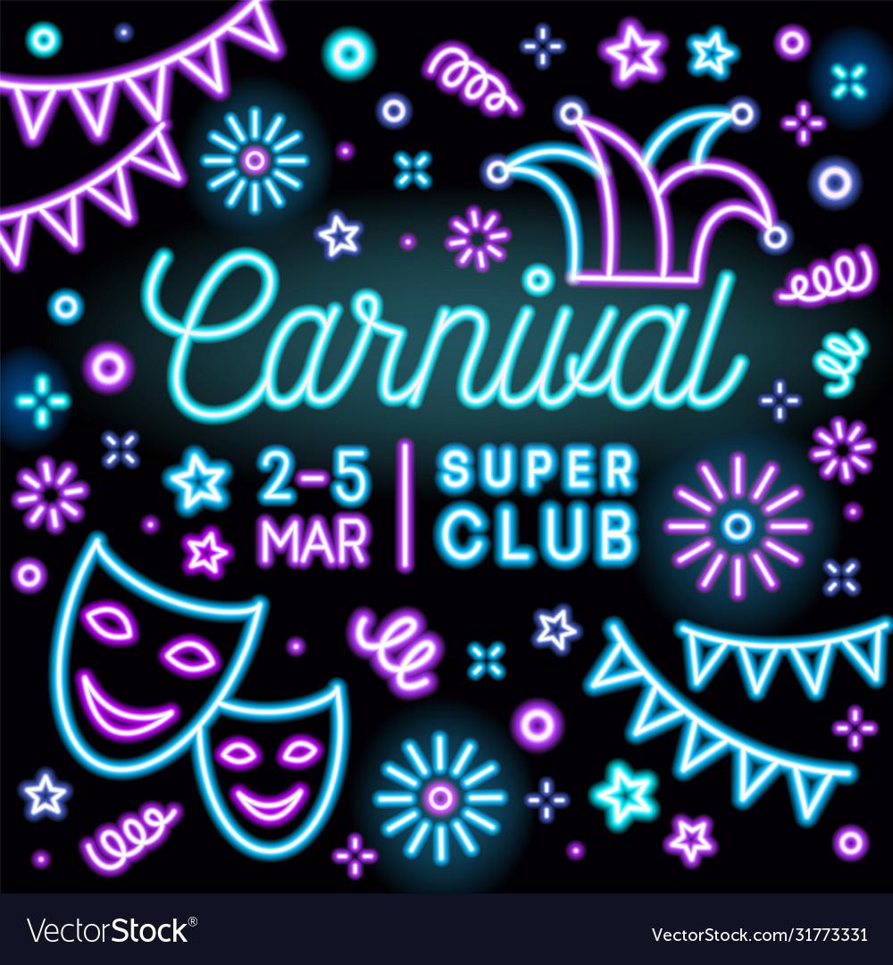 Bright neon carnival party invitation card