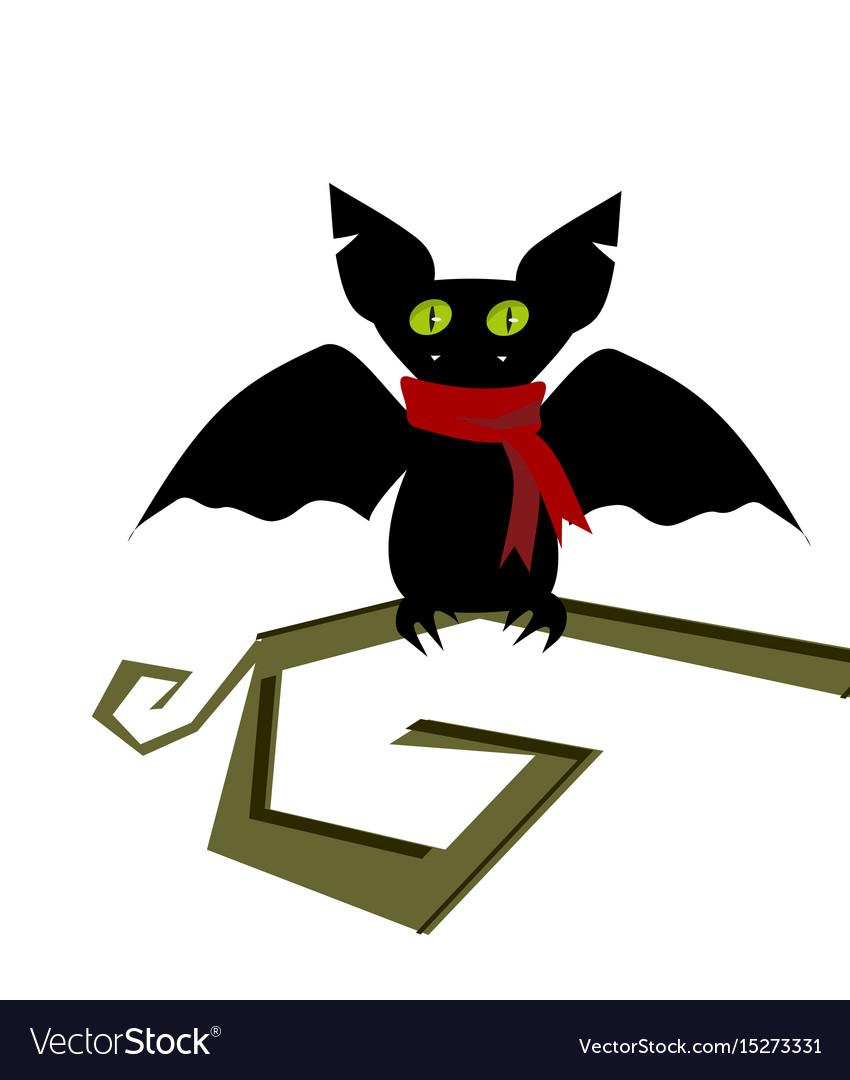 Cartoon bat head icon character flying