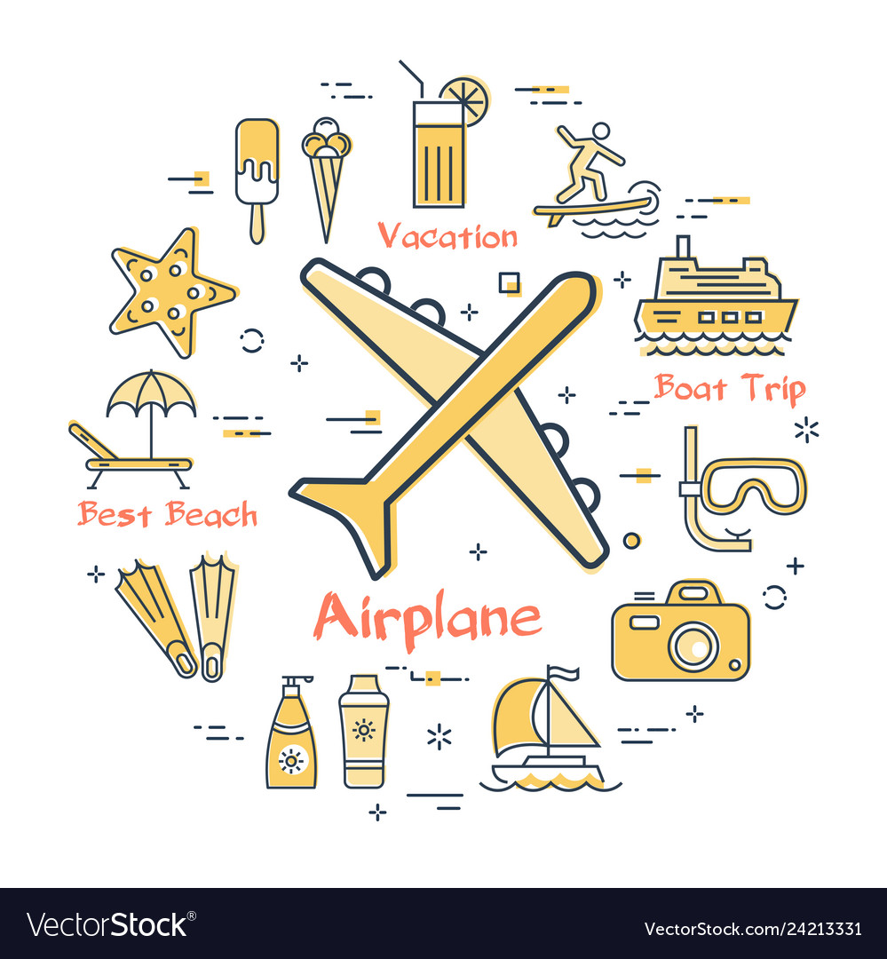 Concept of summer time with airplane icon