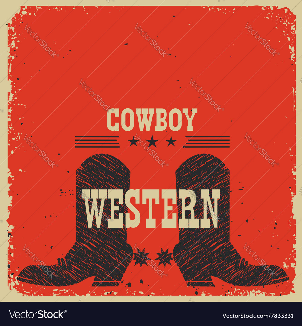 Cowboy boots background red card with text vector image