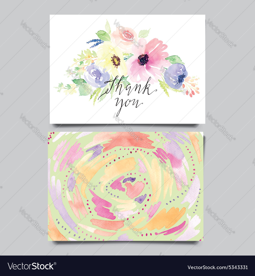 Decorative Card Flowers Painted In Watercolor Hand