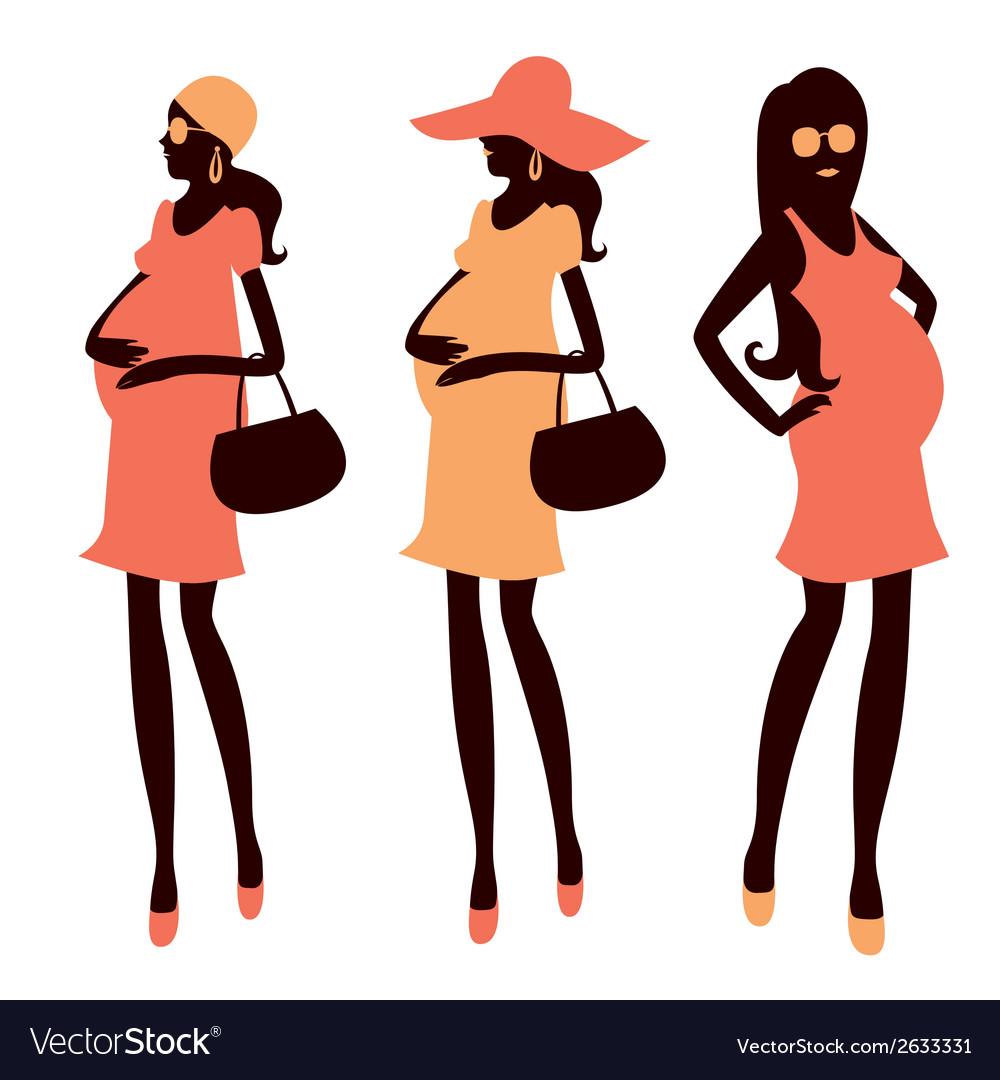 fashionable pregnancy and maternity clipart vector image rh vectorstock com pregnant clipart images pregnant clip art