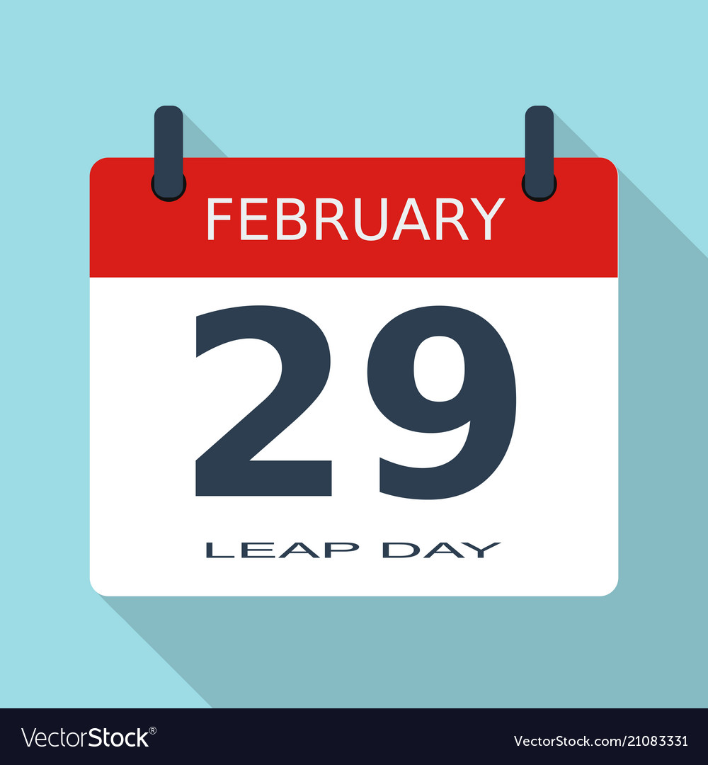February 29 Leap Day Year Flat Daily Icon Eps Vector Image