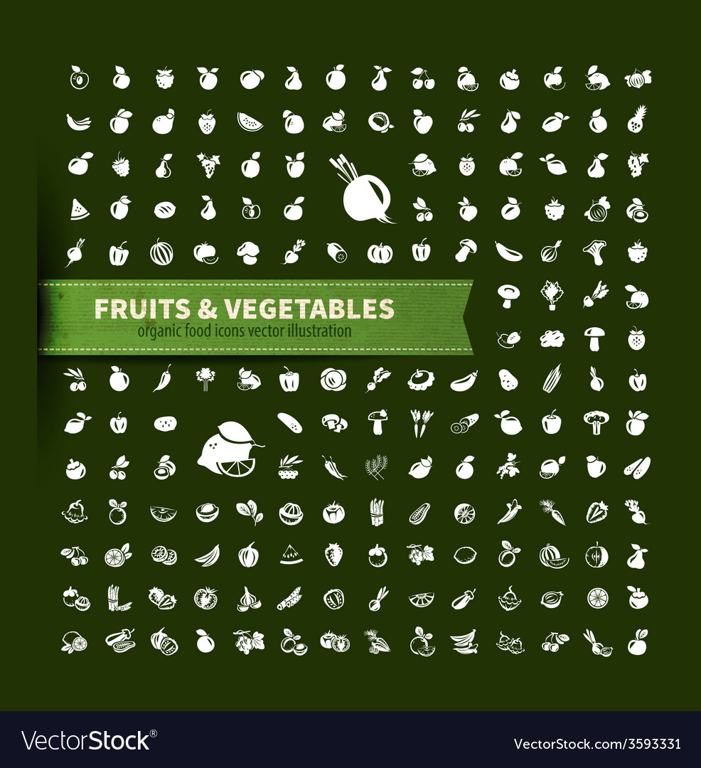 Food fruit and vegetables icon set