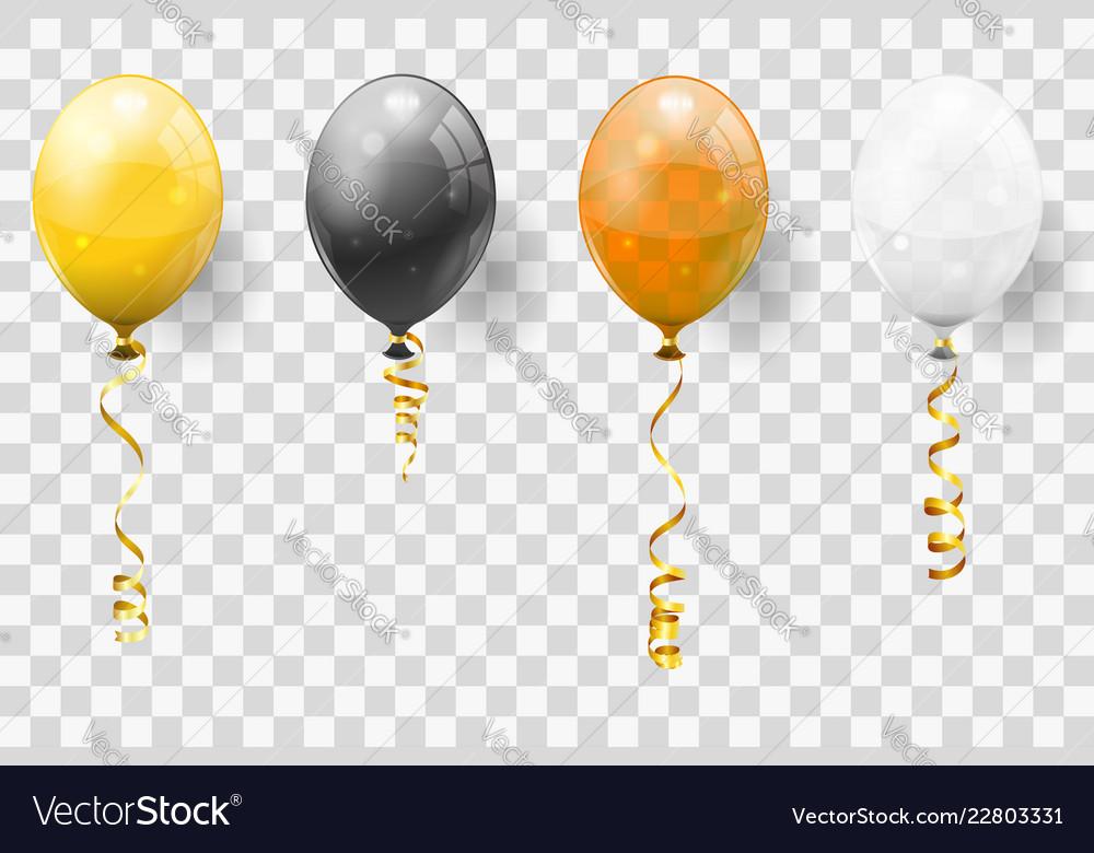 Golden streamer and balloons