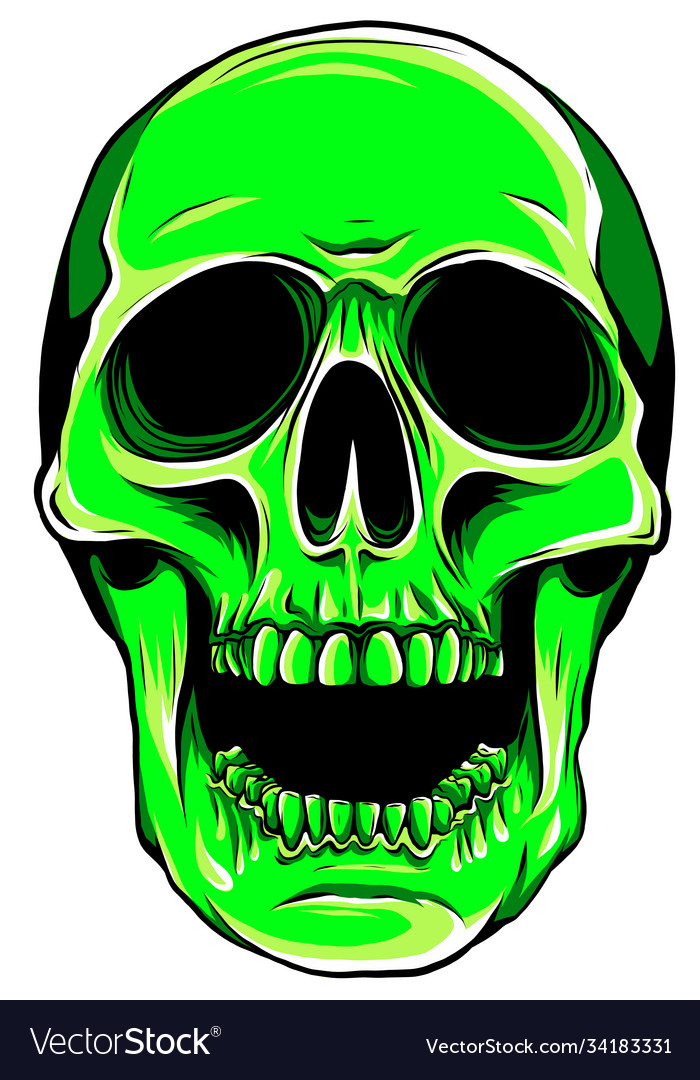 Green color skull head with