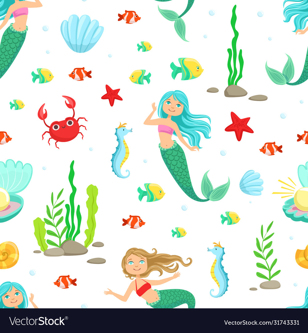 Marine life seamless pattern cute little mermaids