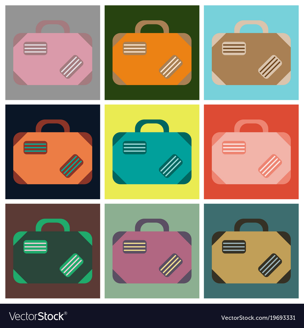 Set of icons in flat design for airport suitcase