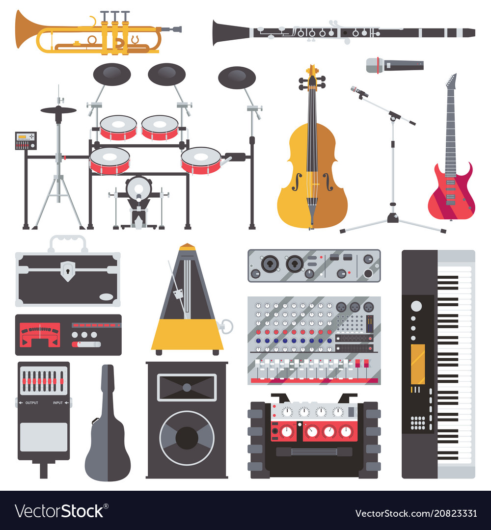 Set with musical live instruments isolated vector image