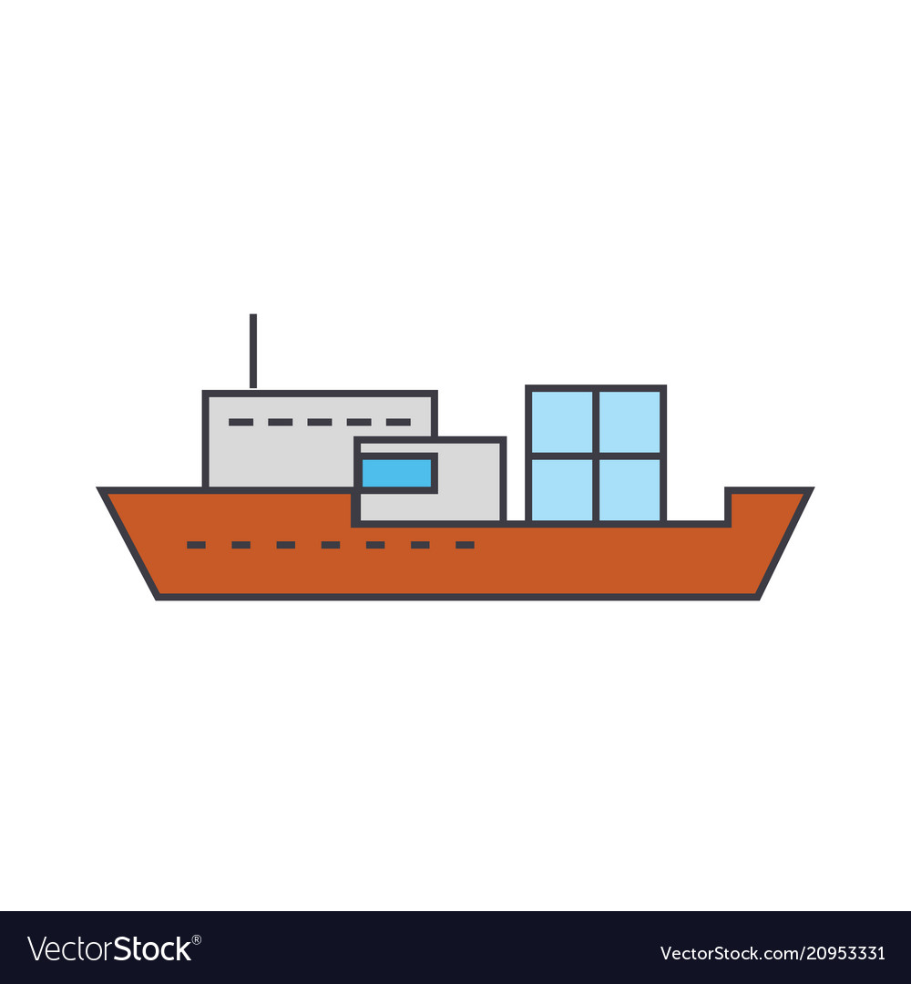 Ship line icon concept ship flat sign