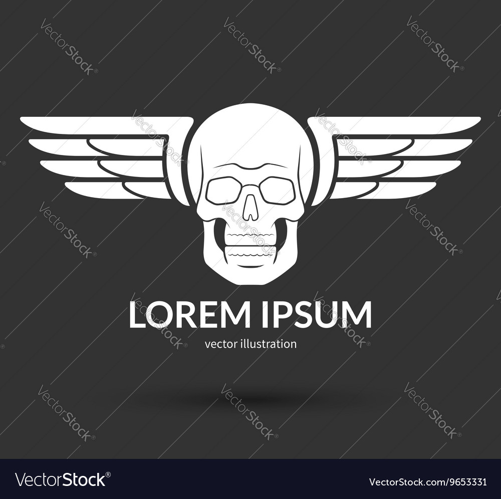 Skull with wings logo emblem icon symbol sign