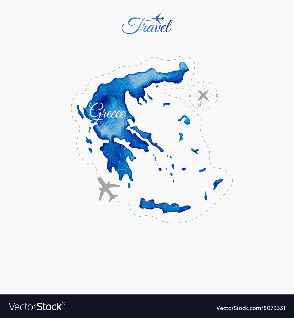 Travel around the world greece watercolor map vector image gumiabroncs Gallery