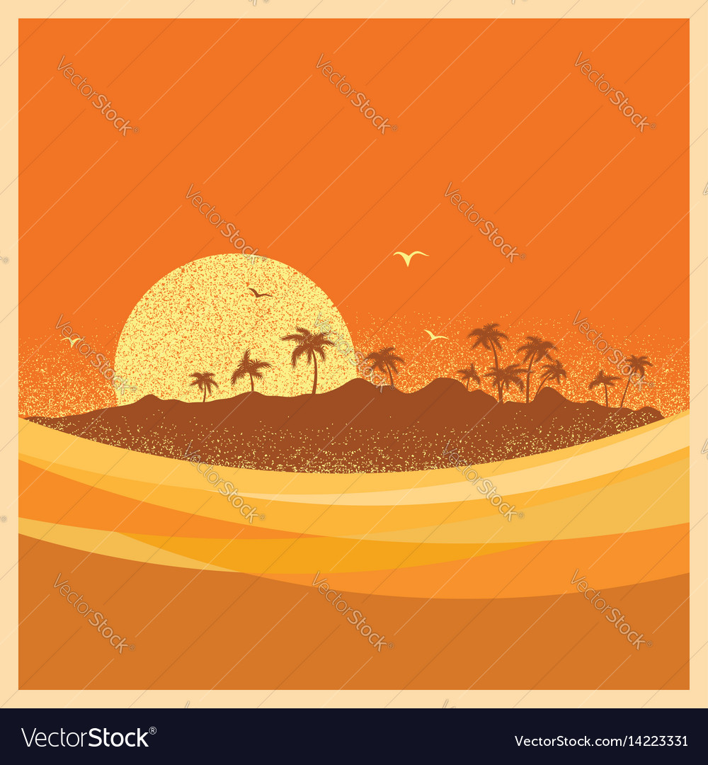 Tropical island with palms and sun poster