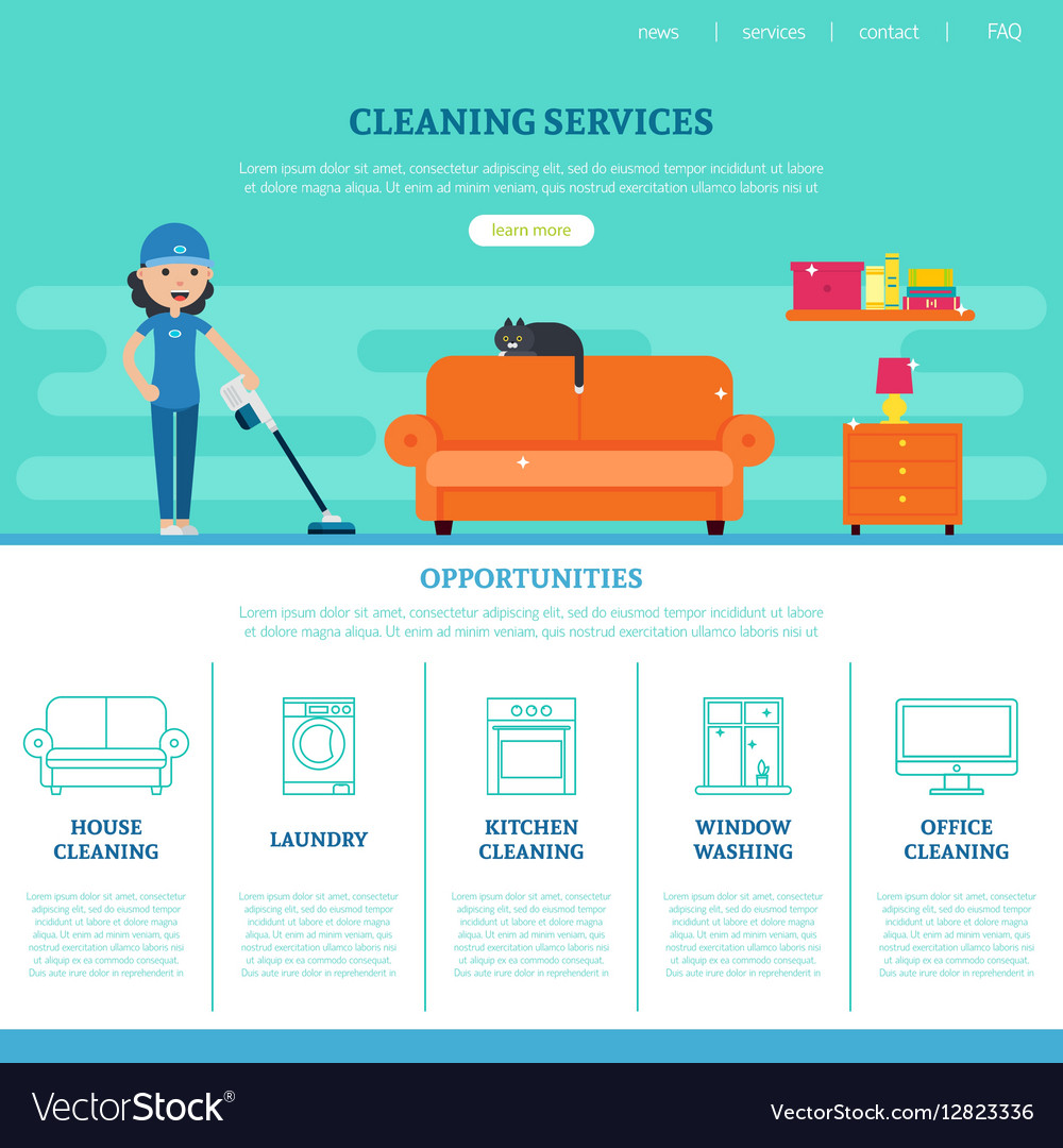 Cleaning Company Web Page Template Royalty Free Vector Image