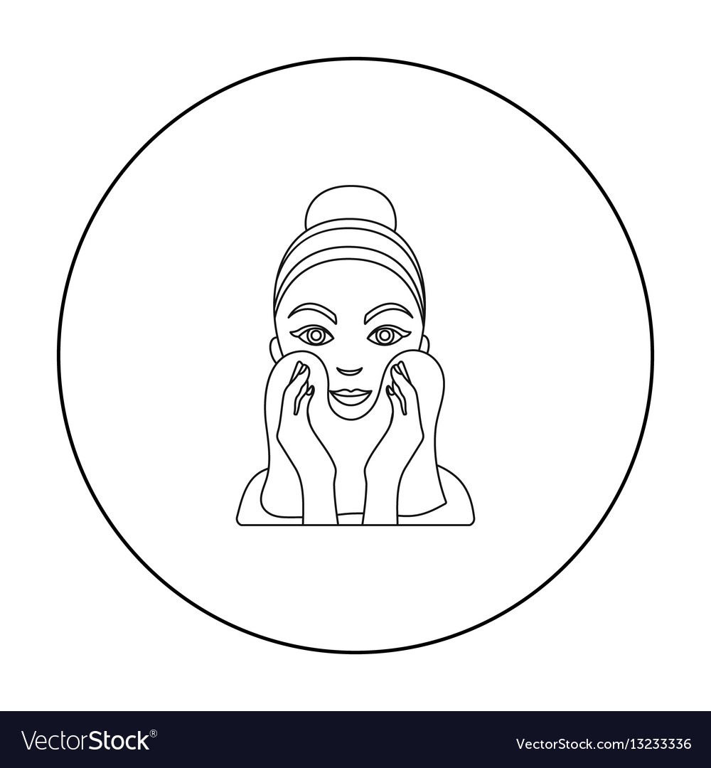 Cleaning of face skin icon in outline style vector image