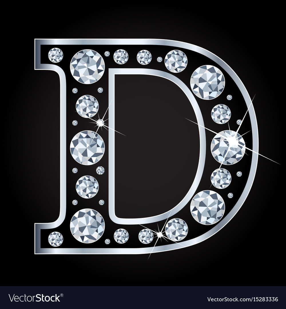 D letter made with diamonds isolated on