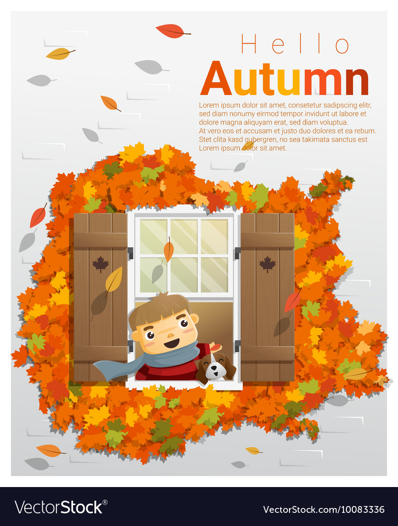 hello autumn background with little boy 2 vector image