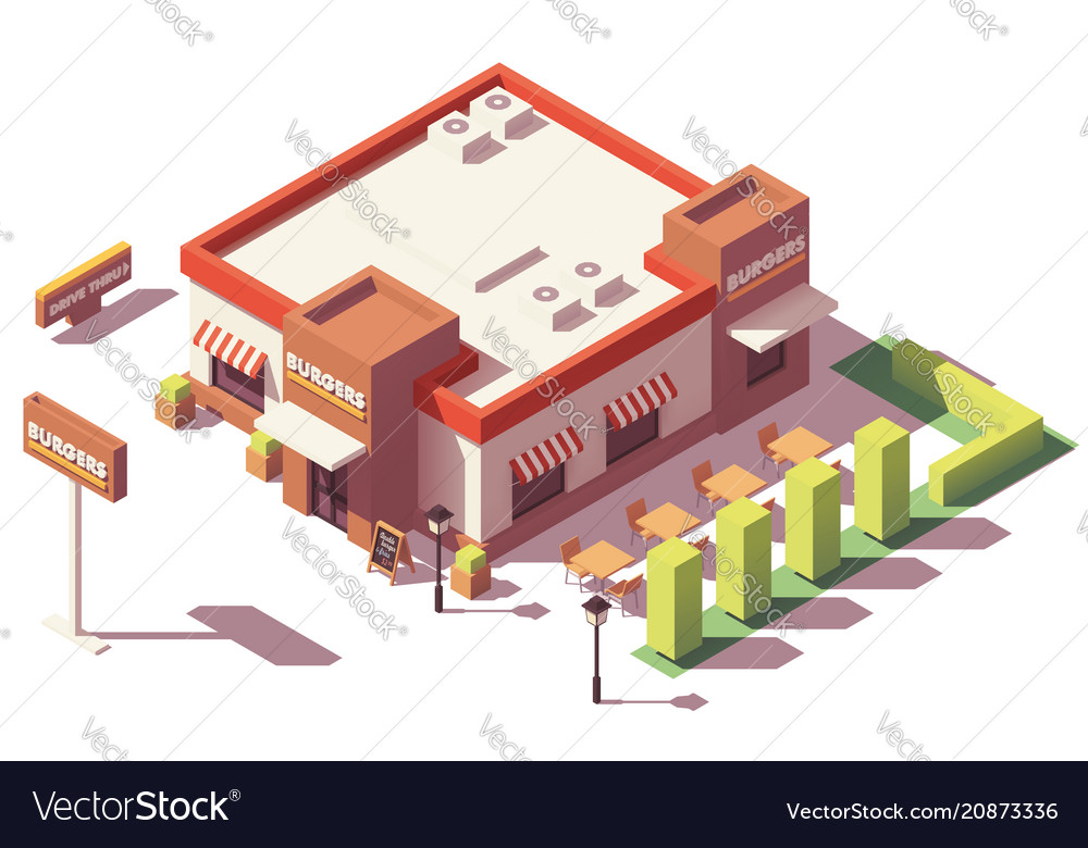 Isometric low poly fast food restaurant