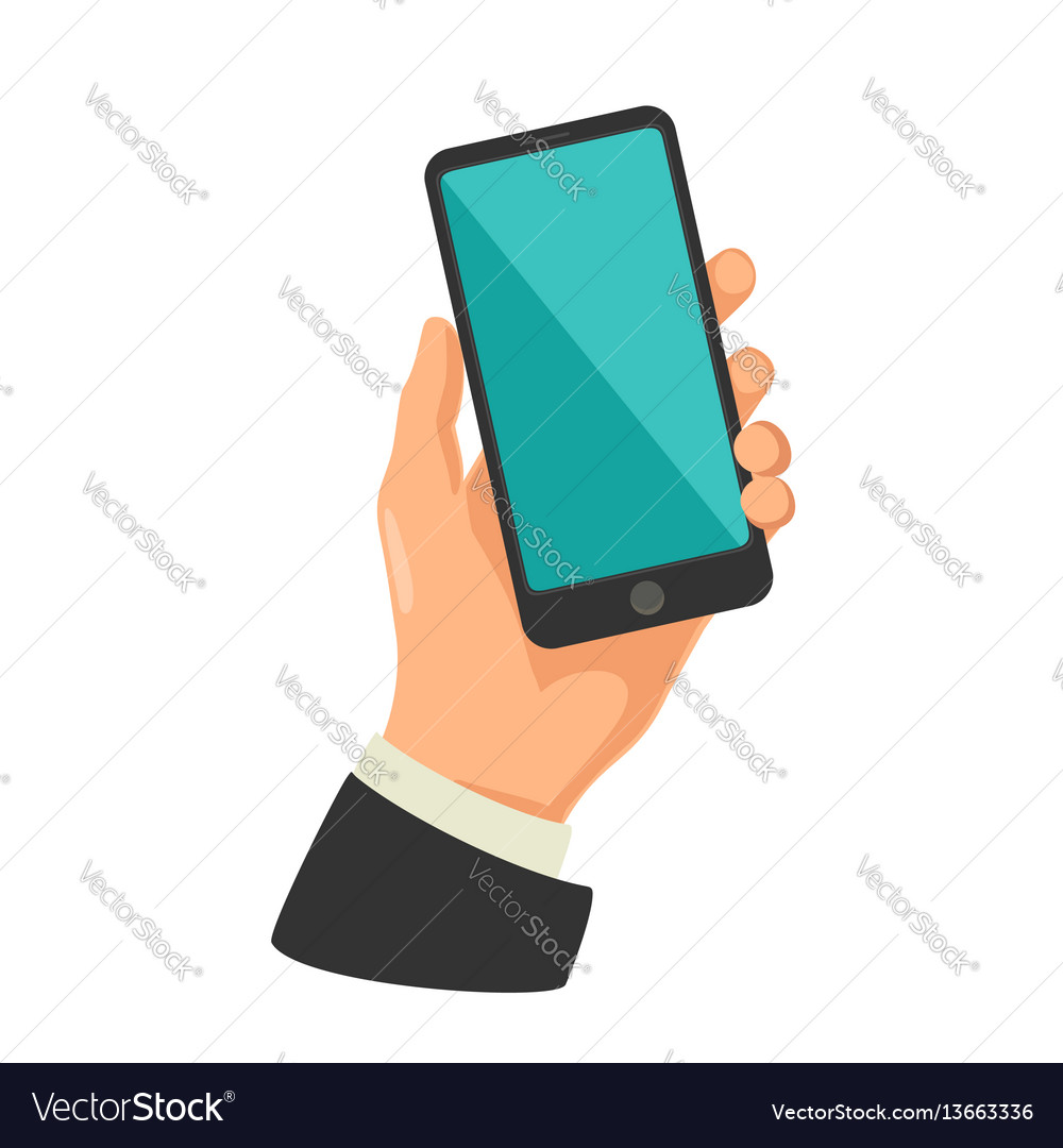 Male hand holding black smart phone touching