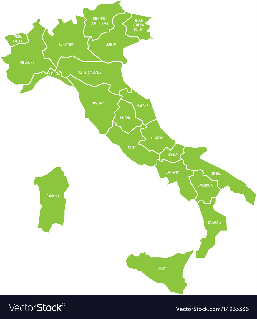 Map Of Italy Simple.Map Of Italy Divided Into 20 Administrative Vector Image