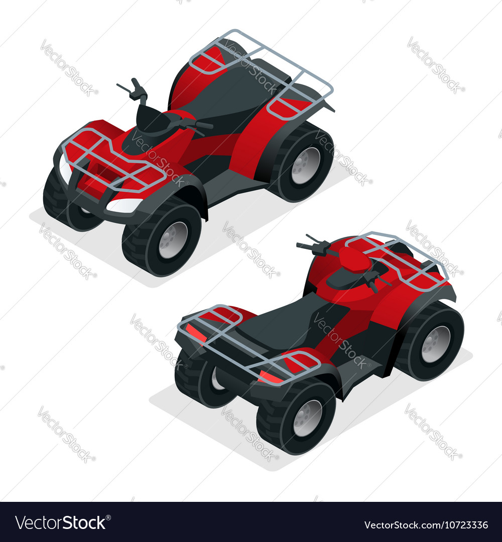 Quad bikes isometric icons set graphic