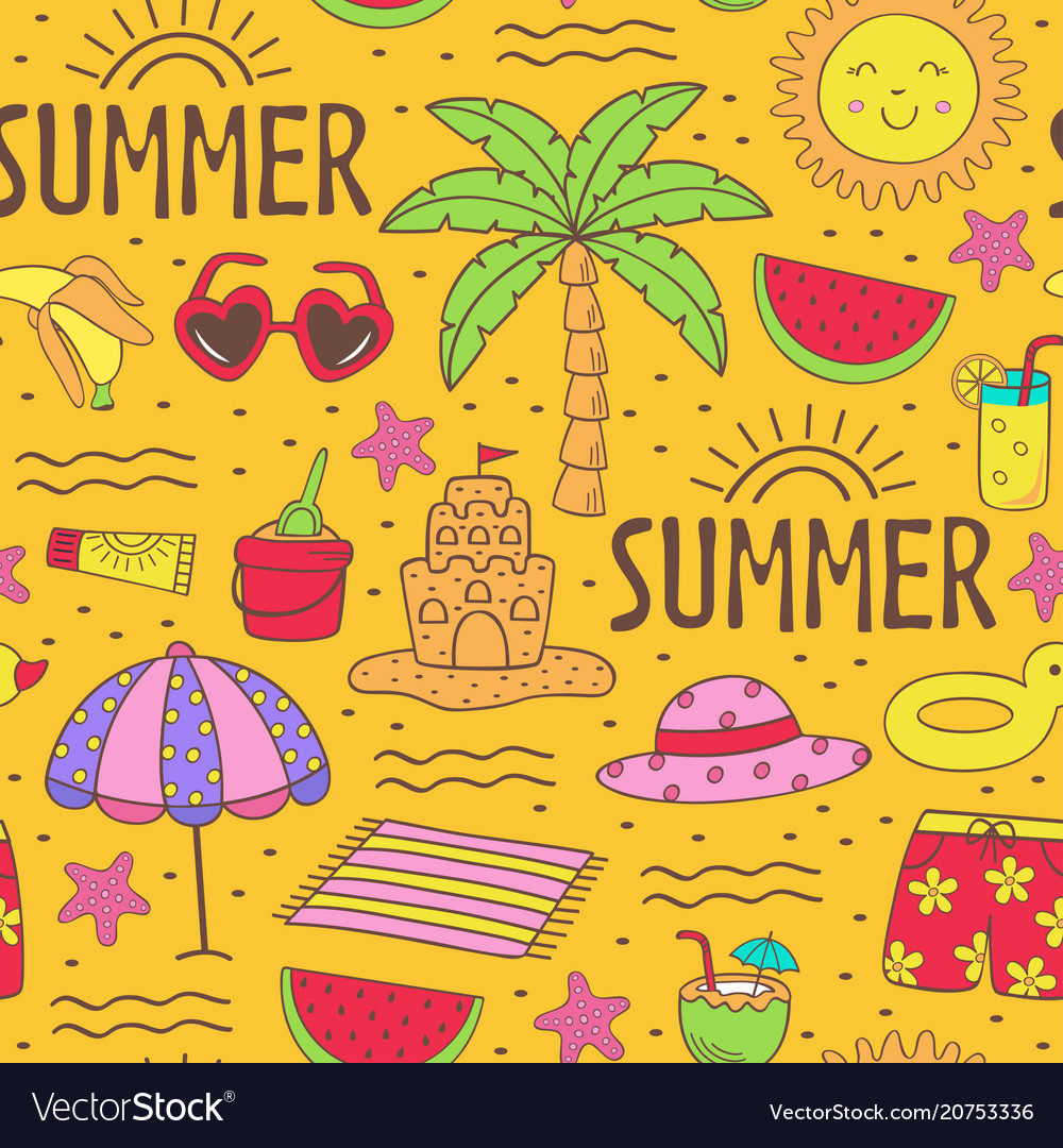 Seamless pattern with summer icons on beach