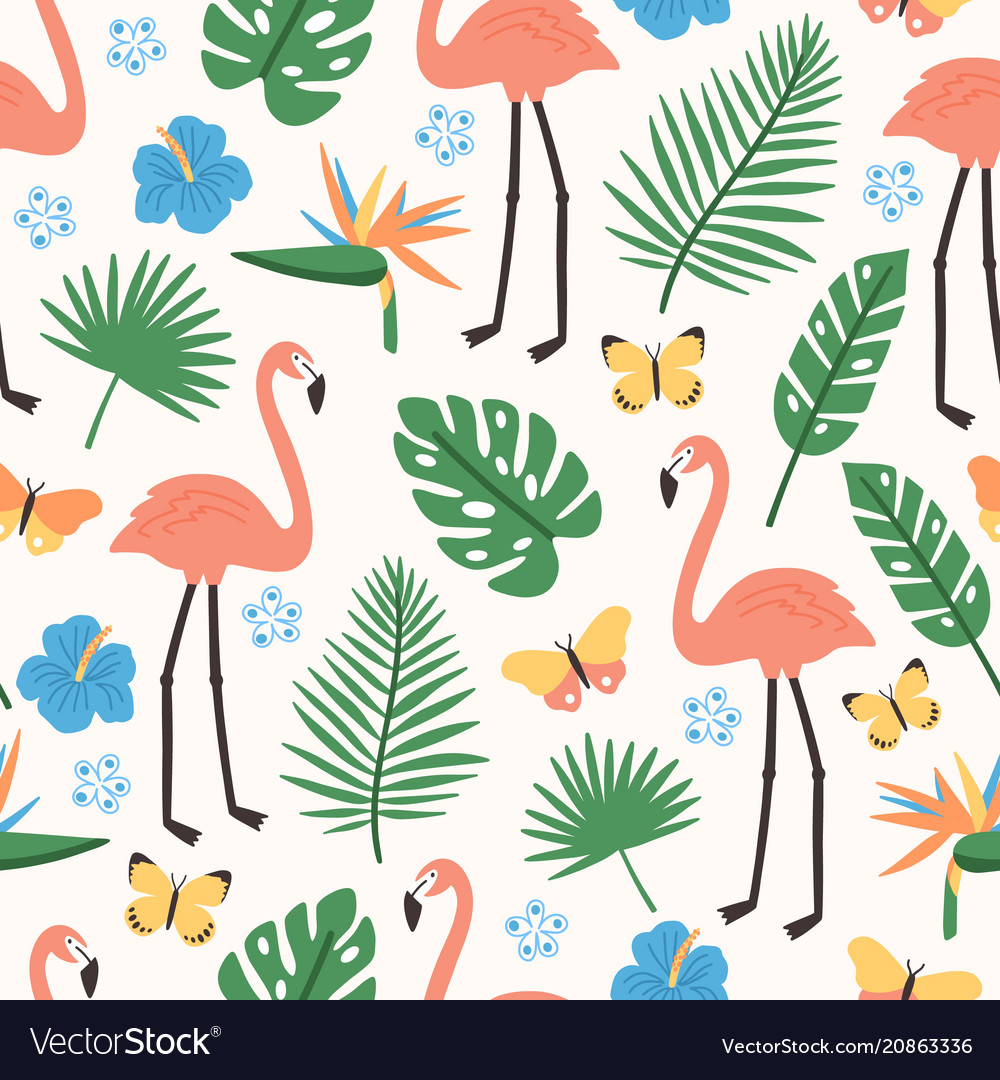 Summer seamless pattern with exotic jungle foliage