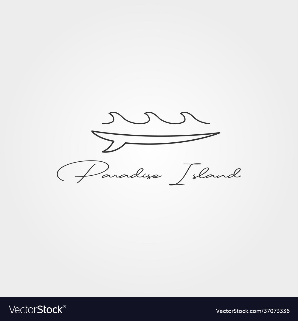 Surfboard and wave line icon logo minimal design