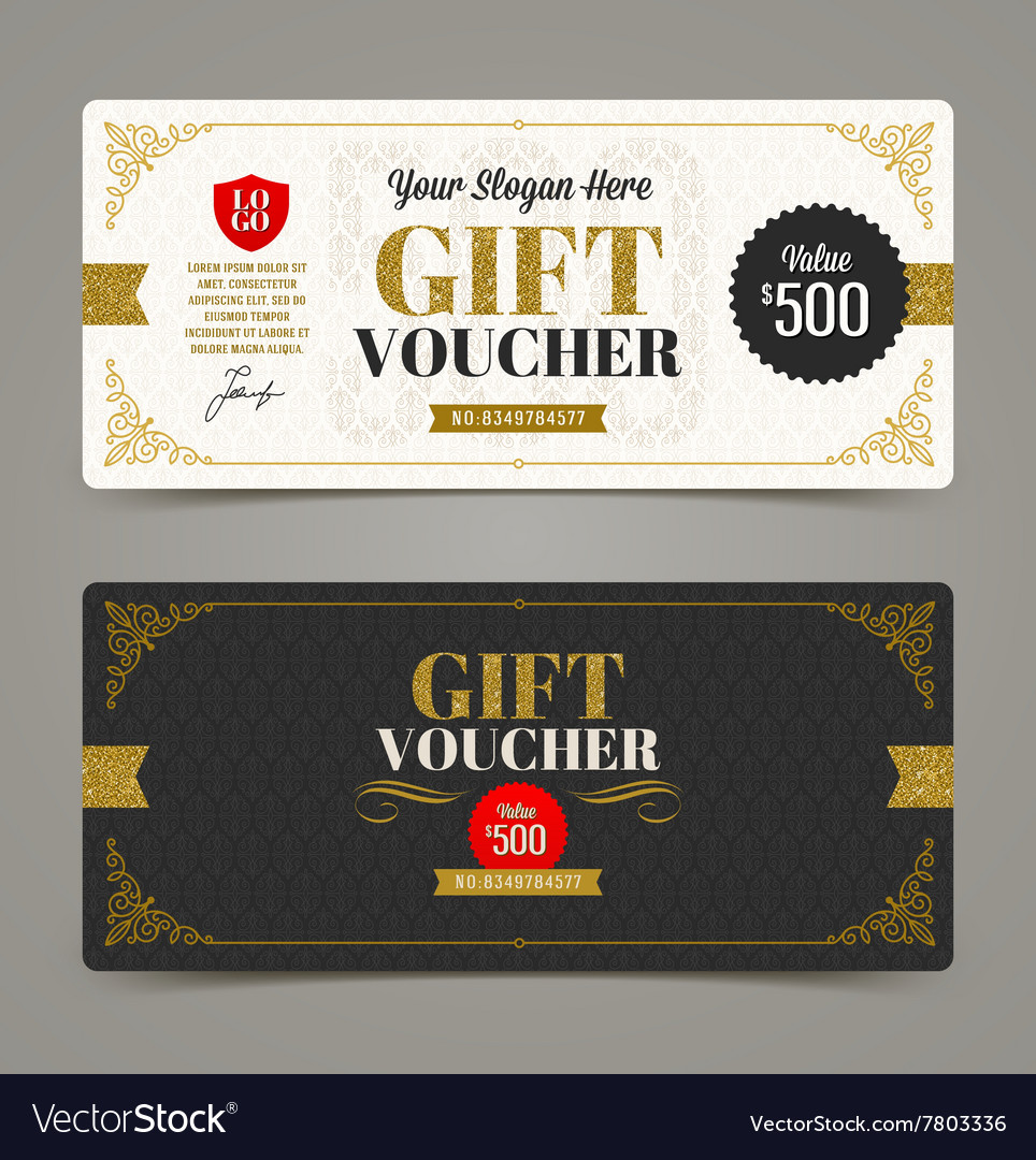 Template Gift voucher with glitter gold